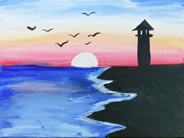 K 1st Grade Honorable Mention Sunset and Birds by the Lighthouse